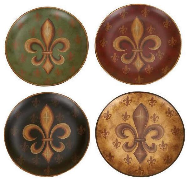 Old World Tuscan Fleur De Lis Decorative 8 Quot Plate Set