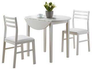 "Dining Set, 3-Piece Set, White With A 36""Dia Drop Leaf"