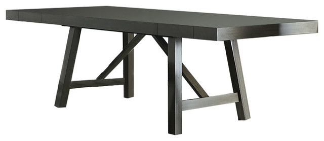 Omaha Gray Trestle Table Transitional Dining Tables
