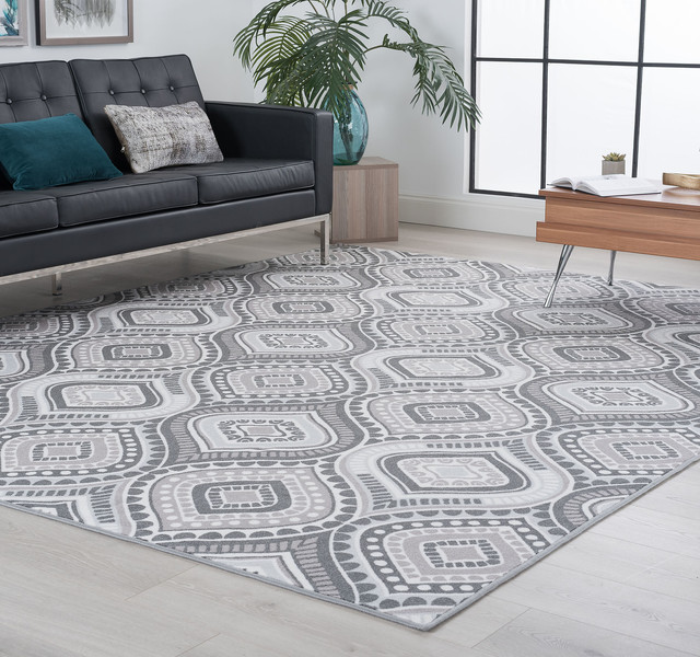 Imogen Contemporary Geometric Charcoal Rectangle Area Rug, 9' x 12.6'