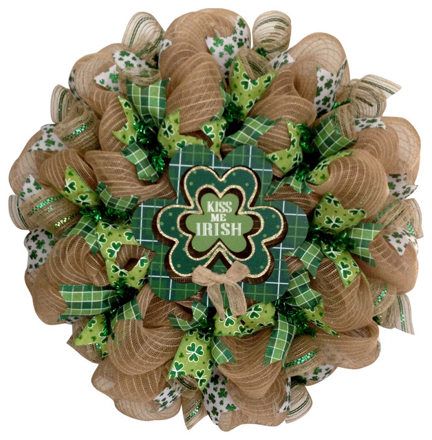 Kiss Me Irish Shamrock St Patrick&x27;s Day Handmade Deco Mesh Wreath.