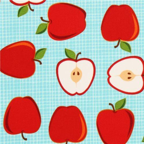 light blue apple fruit fabric by Robert Kaufman from the USA