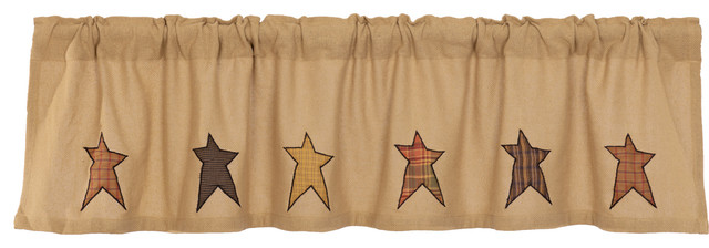 Tan Primitive Kitchen Curtains Sutton Stars Valance Rod Pocket Cotton Star