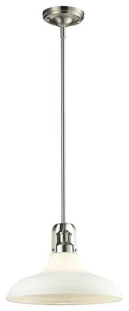1 Light Pendant, Matte Opal, Brushed Nickel.