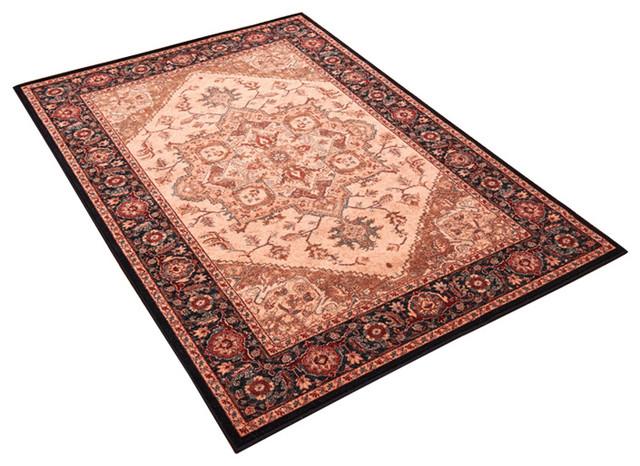 Kashqai Beige Black Rectangular Traditional Rug, 160x240 cm
