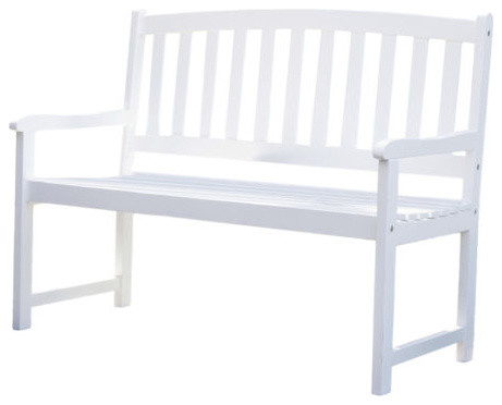 5 Ft Wood Garden Bench With Curved Slat Back And Armrests In White