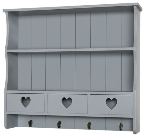 Large Wall Shelf With Heart Drawer Storage, Grey