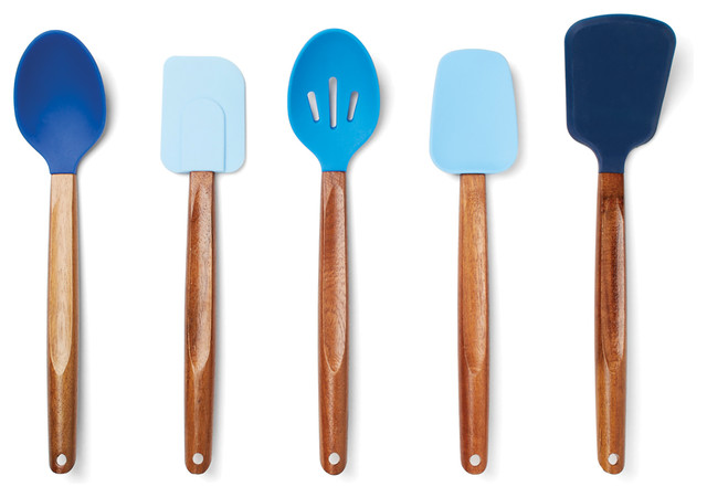 Gradient Blues Silicone Cooking Utensils with Acacia  Wood Handle, Set of 5