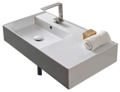 Nameeks Scarabeo 5115 Scarabeo 32 Ceramic Wall Mounted Bathroom Sink.