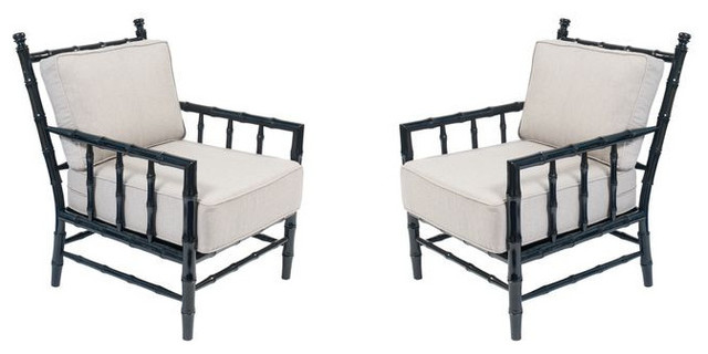 Merveilleux Pair Of Black Bamboo Arm Chairs   $1,800 Est. Retail   $900 On Chairis