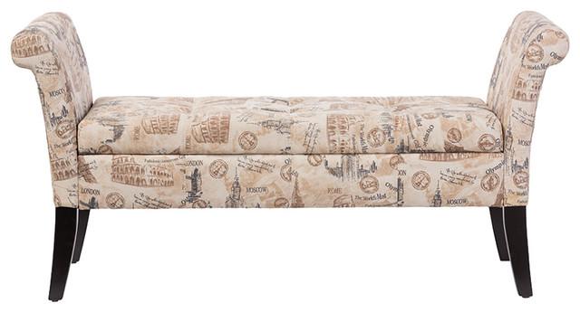 Baxton Studio Avignon Fabric Storage Ottoman Bench, Dark Gray Print.
