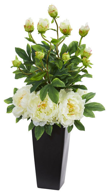 Nearly Natural Peony Artificial Arrangement In Black Vase Contemporary Artificial Flower Arrangements By Nearly Natural Inc