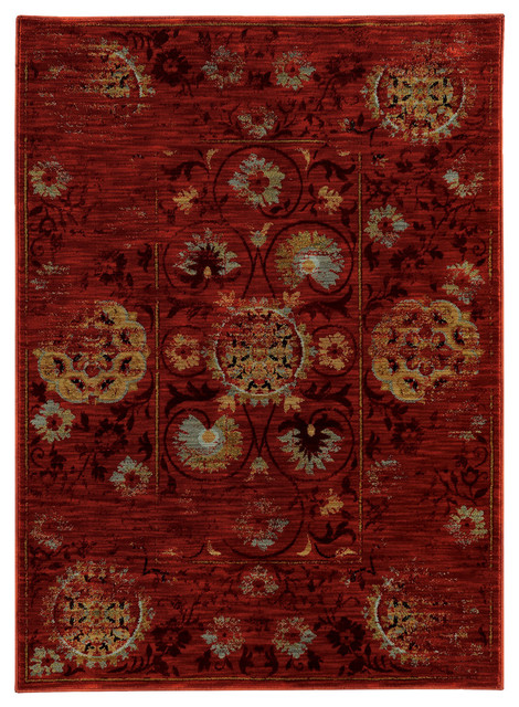 "Rufus Distressed Rug, Red And Gold, 6&x27;7""x9&x27;6""."