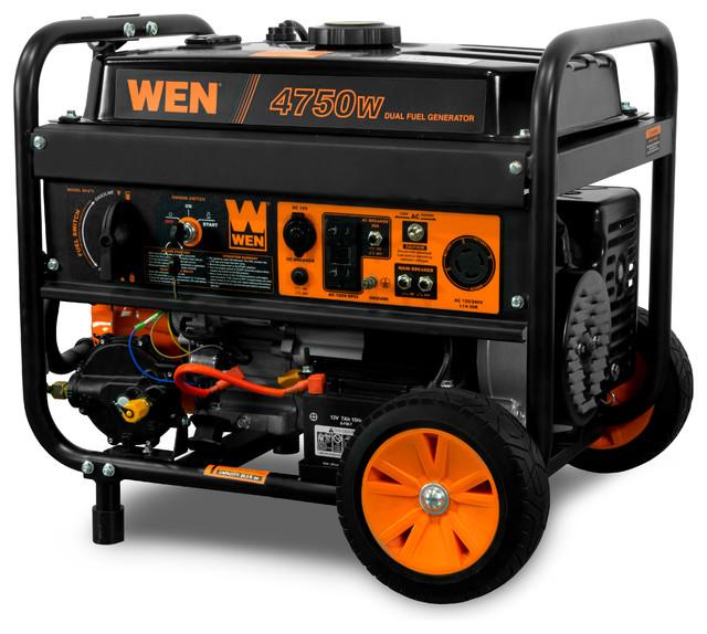 4,750-Watt 120v/240v Dual Fuel Portable Generator W/ Wheel Kit & Electric Start.