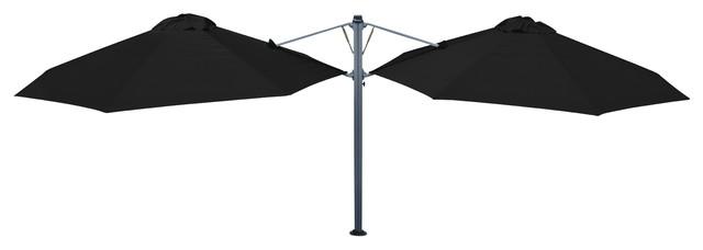 "11&x27;6"" Oct Duo Black Widow Umbrella, Portable Base."