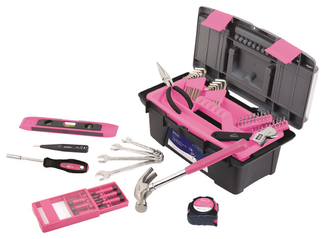 Apollo Tools 53 Piece Household Tool Kit With Tool Box, Pink.