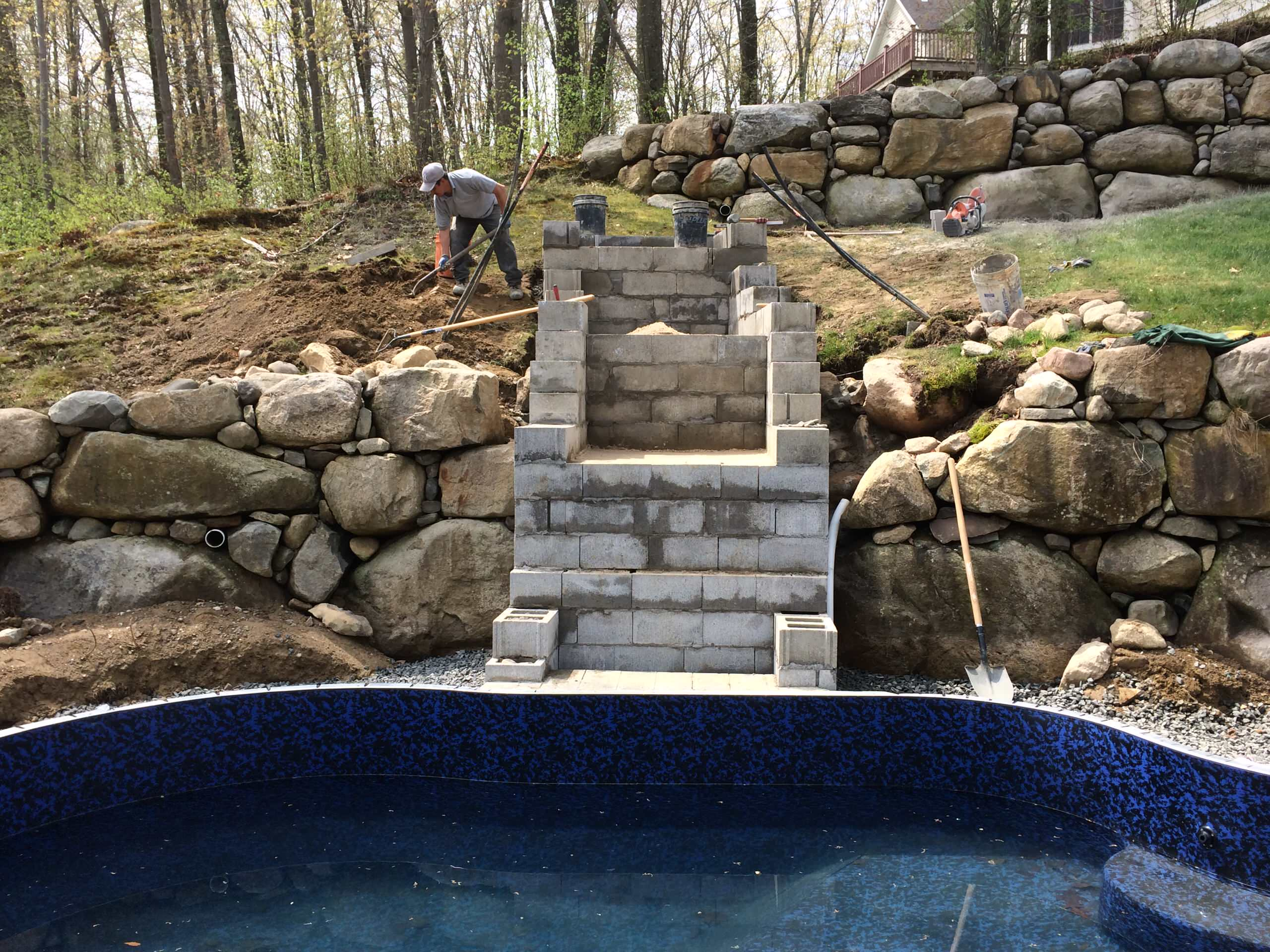 pool with natural bluestone patio natural waterfall and landscape