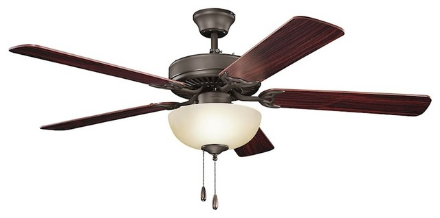 Kichler Basics Select Ceiling Fan, Satin Natural Bronze, Dark Cherry/teak, 52.
