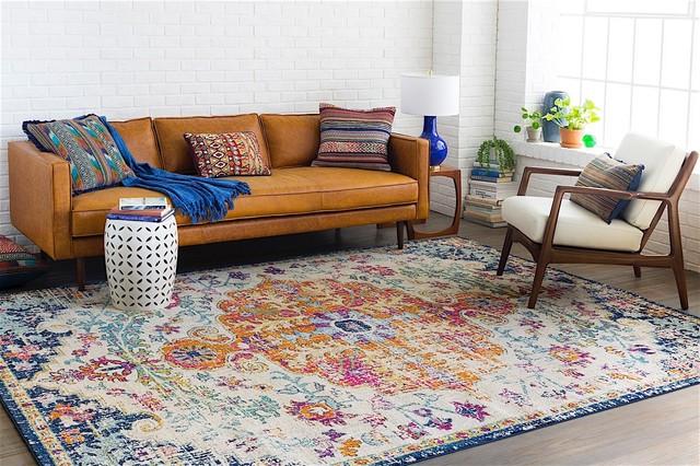 "Harput Traditional Saffron, Light Gray Area Rug, 5'3""x7'3"""