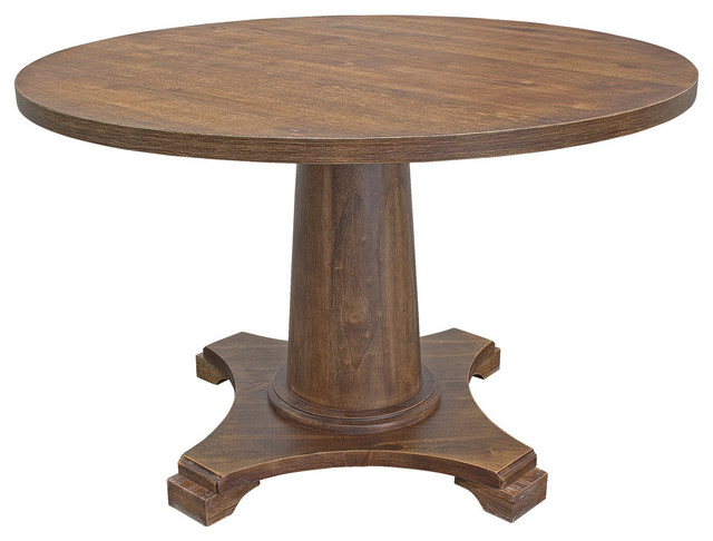 Carey Antique Style Natural Oak Round Dining Table Traditional Dining Tables By Furniture Import Export Inc