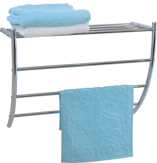 Wall Mounted Bathroom Metal Shelf And 3 Towels Bars Rack Color Chrome Contemporary Towel