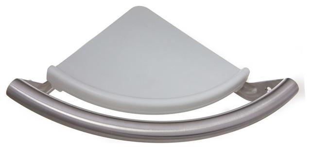 Arista Stainless Steel Corner Shelf Safety Assist Bar, Satin Nickel