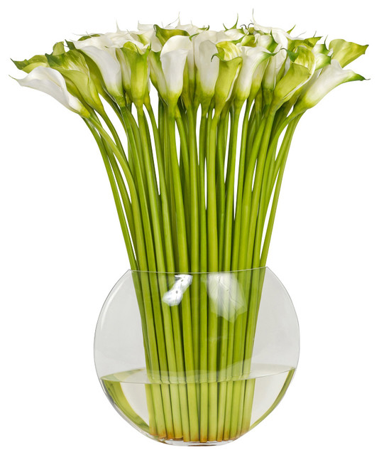 Large Faux Cala Lily In Flat Fish Bowl Vase
