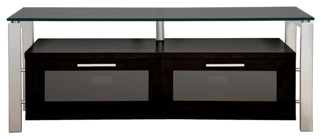 Plateau Silver Tv Stand With Black Glass Contemporary