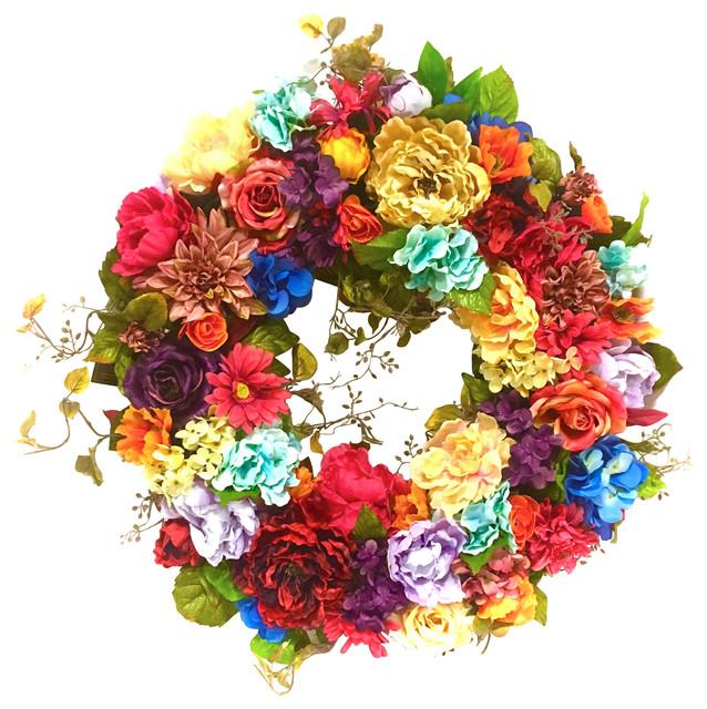 28 All Season Outdoor Silk Floral Tuscan Wreath.