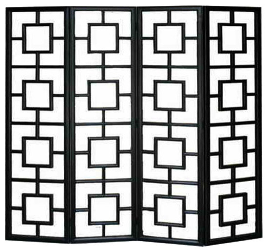 Fusion Black Lacquer Open Panel Screen Headboard asian-screens-and-room- dividers - Fusion Black Lacquer Open Panel Screen Headboard - Asian - Screens