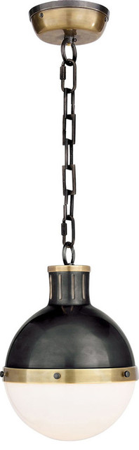 Thomas OBrien Hicks 1 Light Pendant in Bronze With Antique Brass Accents