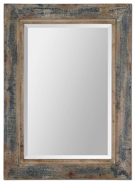 38 Distressed Dark Blue Wood Wall Mirror Cottage Vanity Slate Vintage Style
