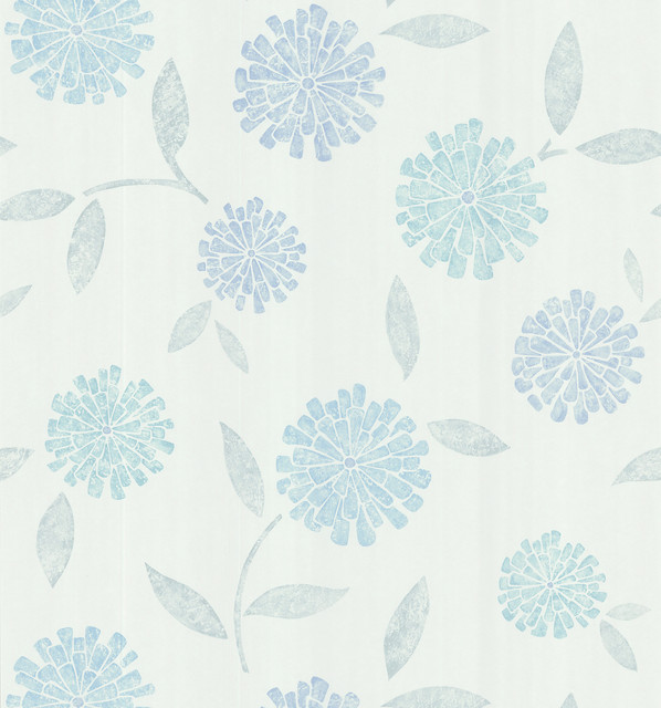 aqua modern floral wallpaper bolt contemporary wallpaper - Flower Wallpaper For Home
