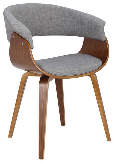 LumiSource Vintage Mod Accent Chair, Walnut and Cream, Walnut, Light Gray