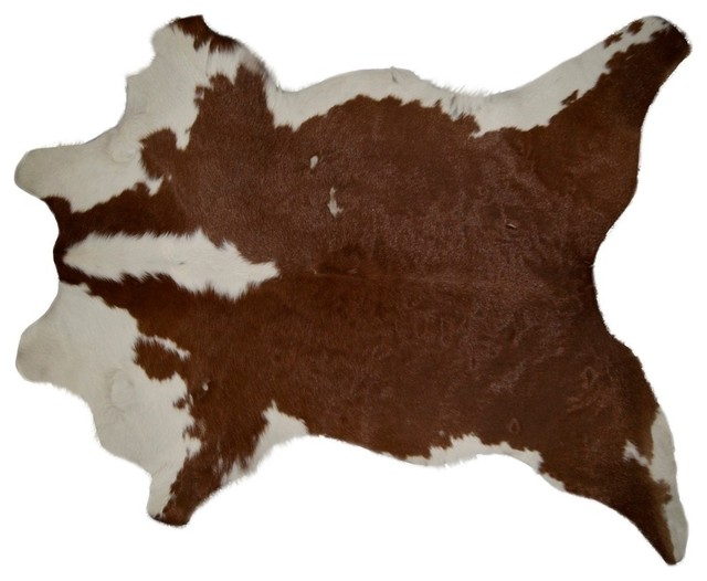 Natural Natural Calfskin Rug, 2&x27;x3&x27;, Brown And White.