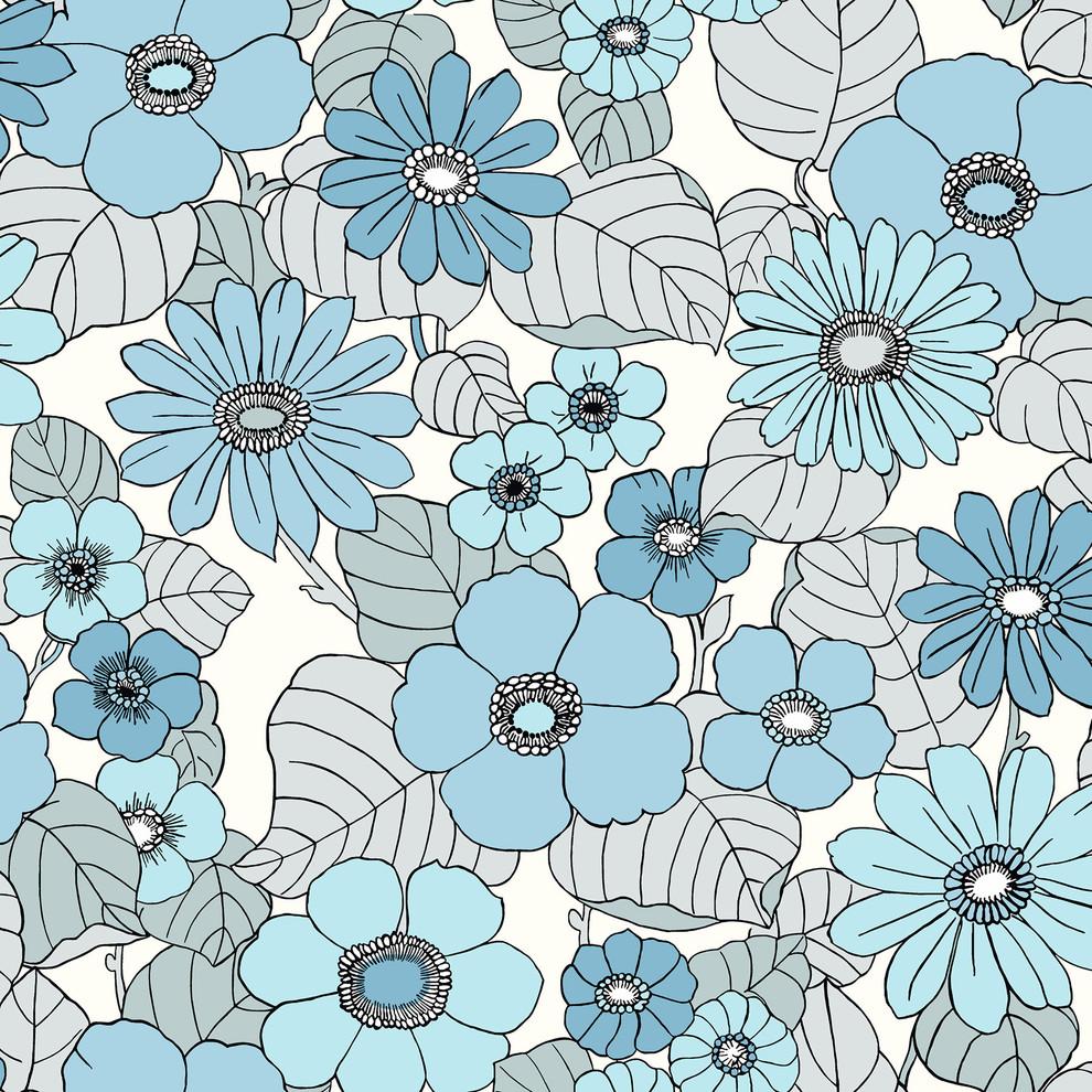 Light Blue Floral Burst Wallpaper Contemporary Wallpaper By