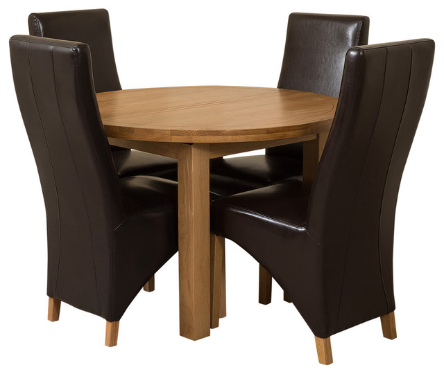 Edmonton Oak Round Extension Dining Table, 4 Lola Chairs, Black Leather