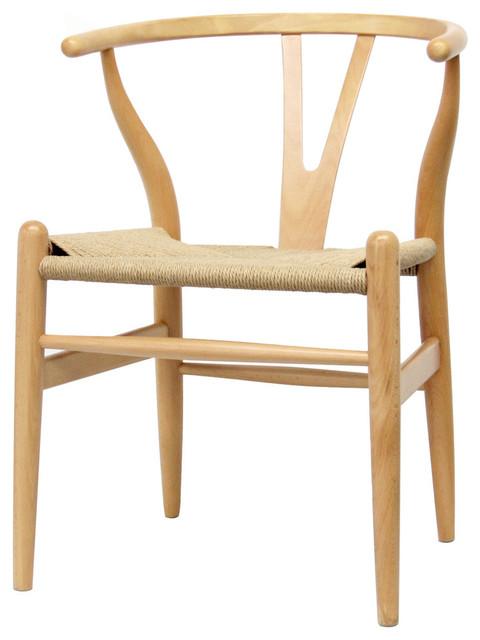 Baxton Studio Mid-Century Modern Wishbone Chairs Natural Wood Y Chairs, Set  of 2