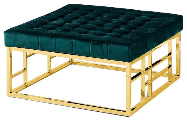 Cool Green Velvet With Gold Plated Square Accent Ottoman Short Links Chair Design For Home Short Linksinfo