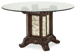"""Aico Michael Amini Platine De Royale Light Espresso 54"""" Round Glass Table"""