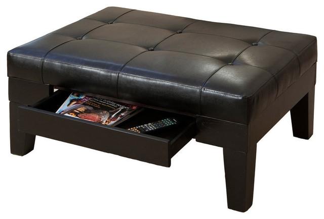 GDF Studio Tucson Brown Leather Storage Ottoman Coffee Table