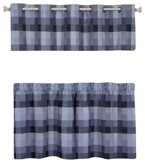 "Harvard Valance With 10 Small Grommets 58""x14"", Blue."