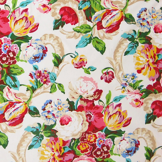 Blossom Green Pink Red Chintz Floral Cotton Made In Usa Upholstery