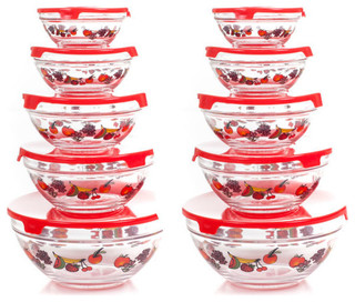 Chef Buddy 20-Piece Glass Bowl Set - Contemporary - Food Storage Containers - by DCG WholeSale