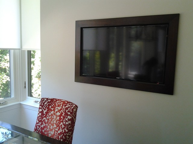 Wall Mounted Tv With Wood Frame Transitional Montreal