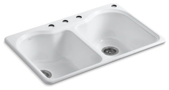 Kohler Hartland Top Mount Double Equal Kitchen Sink With 4 Faucet