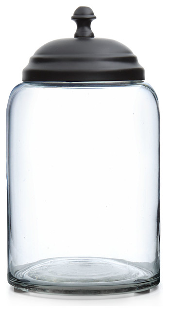 Lonestar glass canister contemporary kitchen canisters for Glass bathroom canisters