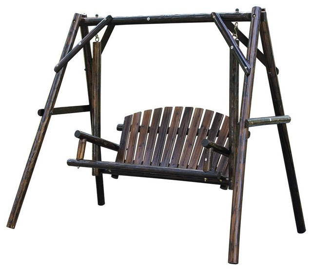 Wooden Garden Swing With Large Space For Outdoor Furniture Natural Style.