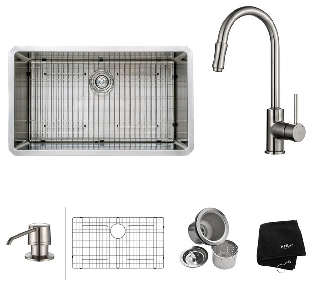 """Undermount Single Kitchen Sink, Faucet And Soap Dispenser, Stainless Steel, 32""""."""