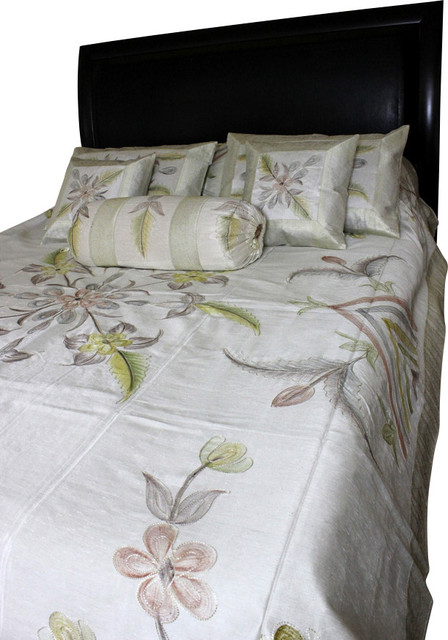 hand painted floral 7piece duvet cover set beige queen asianduvet